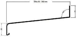Technický nákres venkovního hliníkového parapetu