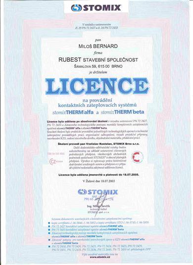 RUBEST spol. s r.o. - osvědčení o licenci