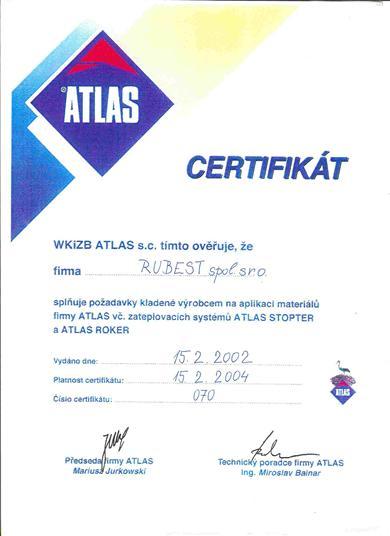 RUBEST spol. s r.o. - certifikát atlas stopter