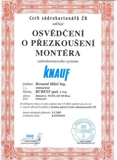 RUBEST spol. s r.o. - osvědčení o přezkoušené montéra