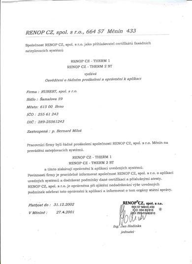 RUBEST spol. s r.o. - osvědčení o proškolení