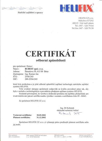 RUBEST spol. s r.o. - certifikát odborné způsobilosti