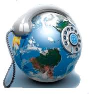 Ikona zeměkoule s telefonem