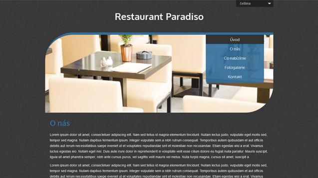 Restaurace tmavě modrá šablona číslo 507