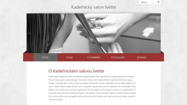 Kadeřnický salon Ivette tmavě červená šablona číslo 254