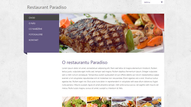 Restaurace fialová šablona číslo 244