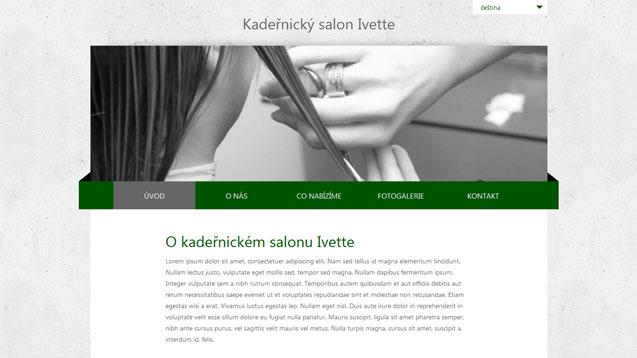 Kadeřnický salon Ivette tmavě zelená šablona číslo 252