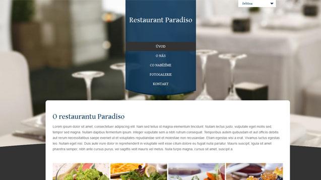 Restaurace tmavě modrá šablona číslo 301