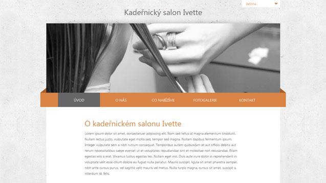 Kadeřnický salon Ivette oranžová šablona číslo 256
