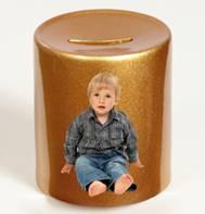 Metalicky zlatá keramická pokladnička