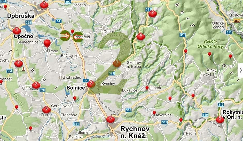 Mapa zajímavostí v okolí (2)