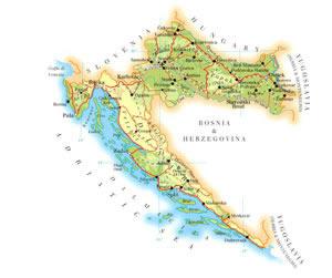 mapa Chorvatska