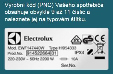 Výrobní kód spotřebiče, PNC