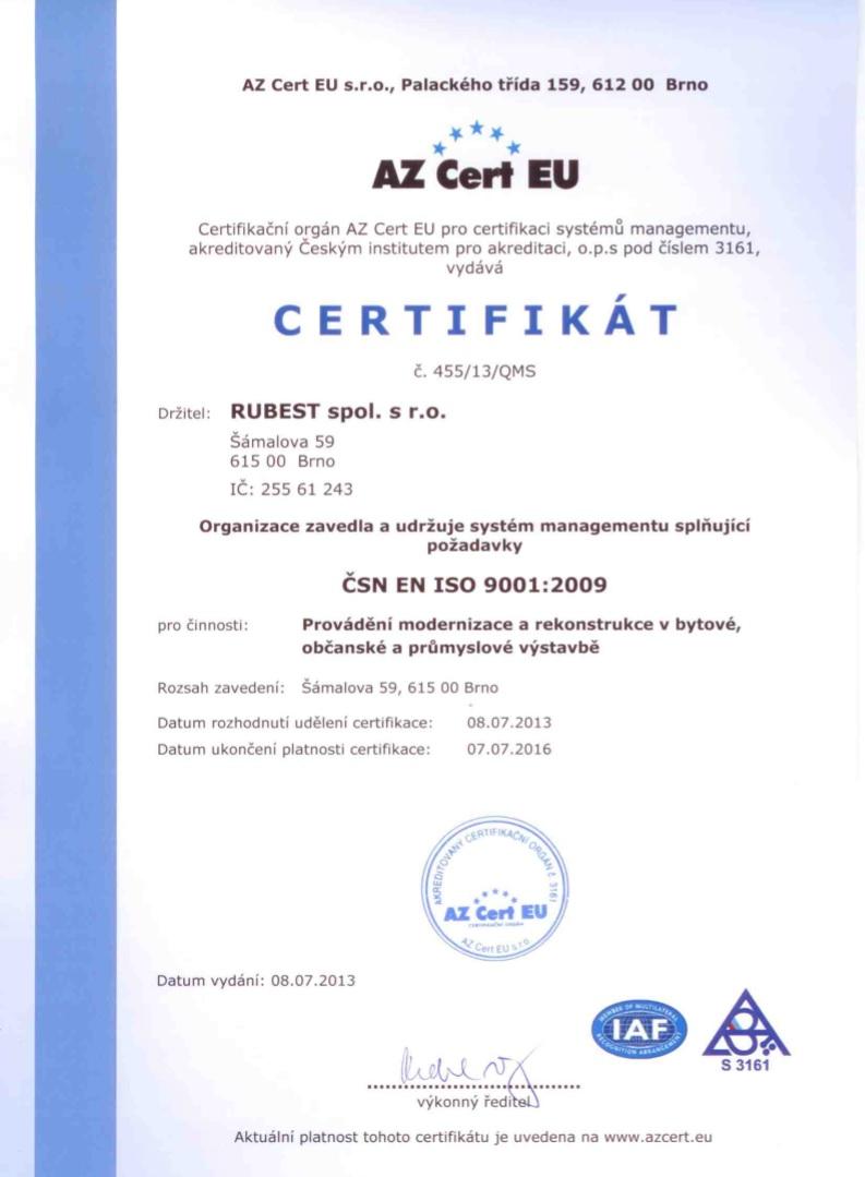 RUBEST spol. s r.o. - certifikát ISO 9001