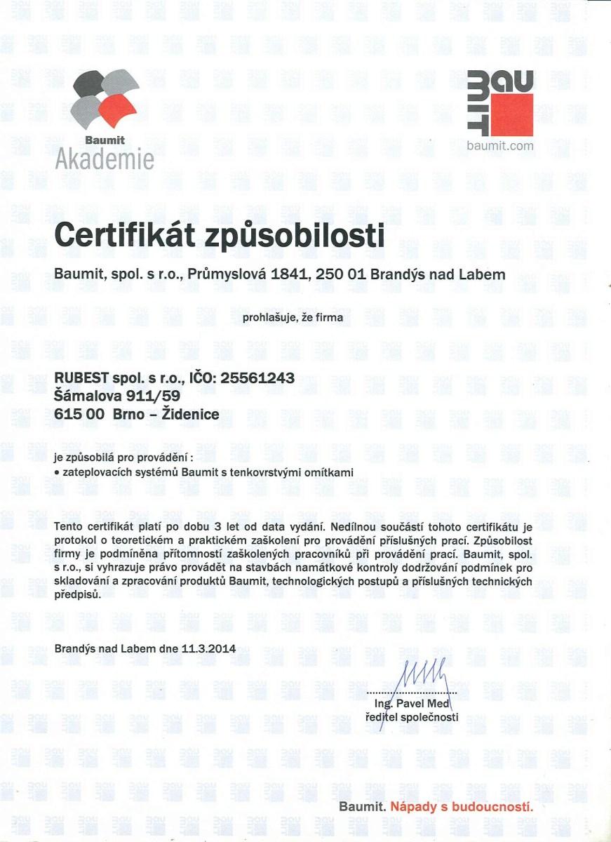 RUBEST spol. s r.o. - certifikát způsobilosti