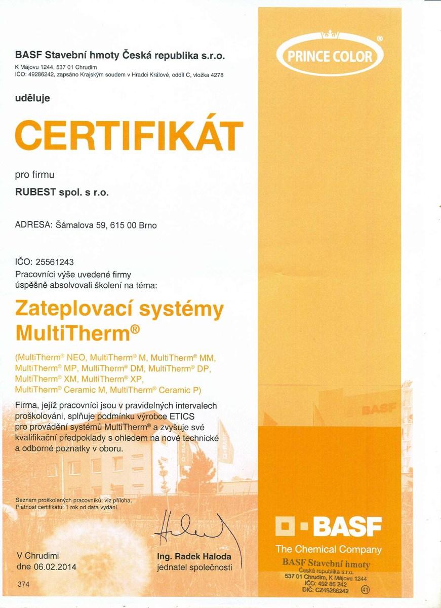 RUBEST spol. s r.o. - certifikát