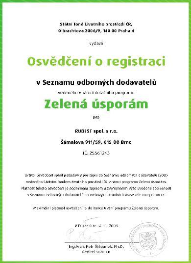 RUBEST spol. s r.o. - osvědčení zelená ůsporám