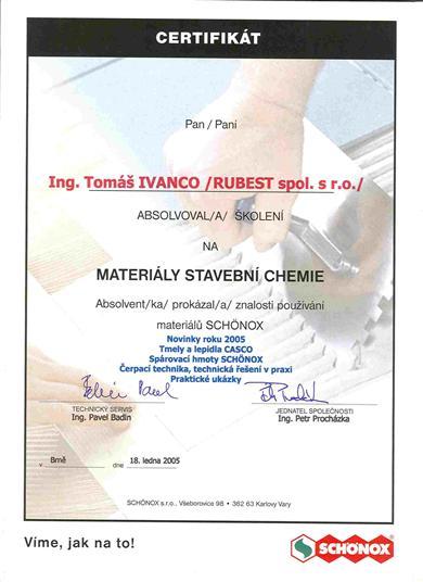 RUBEST spol. s r.o. - certifikát na materiály stavební chemie