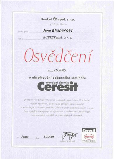 RUBEST spol. s r.o. - osvědčení o absolvování odborného semináře
