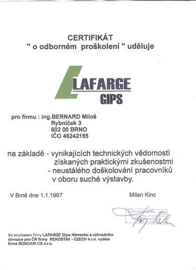 RUBEST spol. s r.o. - certifikát o odborném proškolení