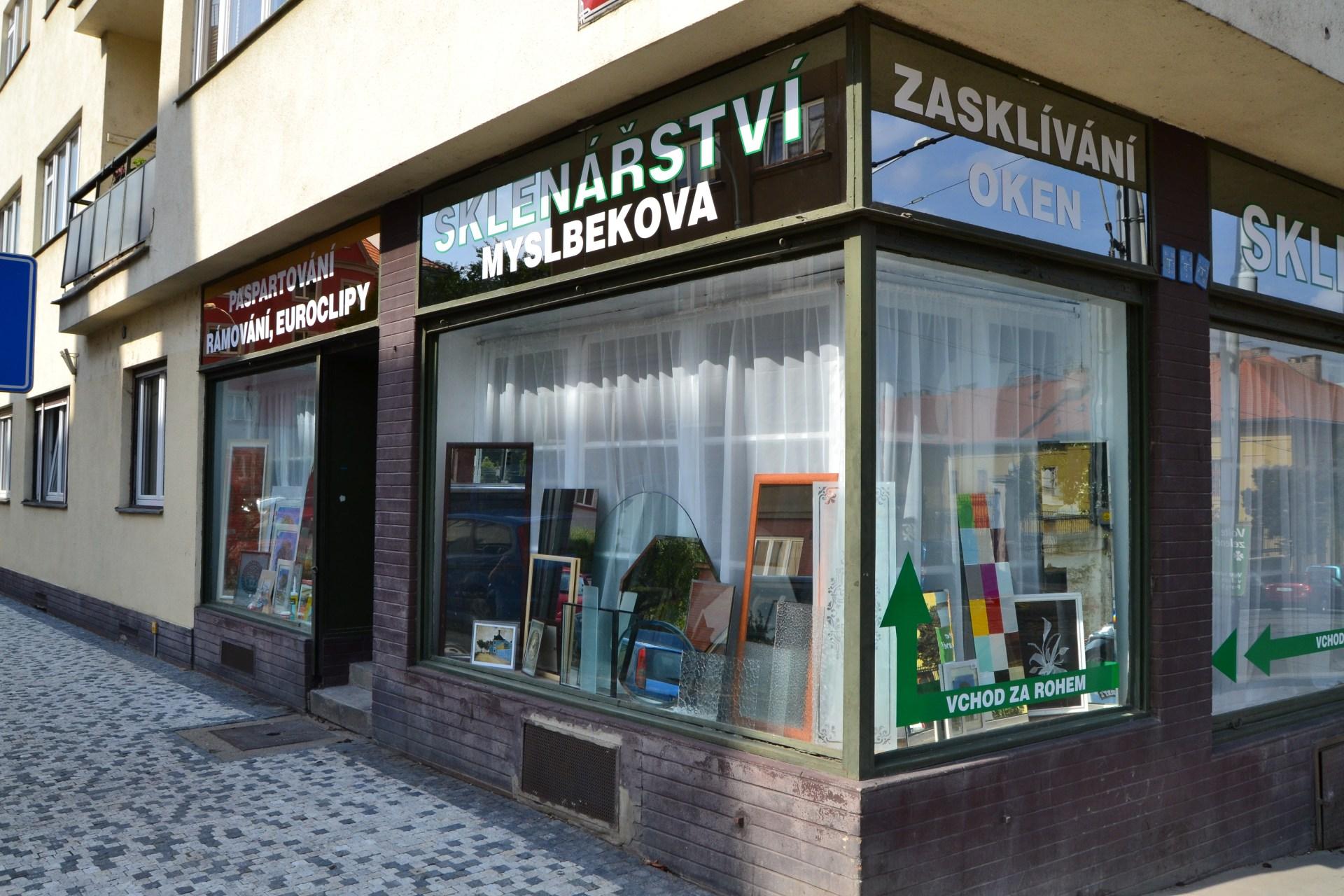 Foto obchodu sklenářství Myslbekova