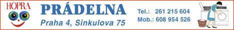 Logo prádelny Hopra s telefonními čísly