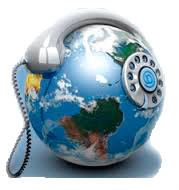 Logo zeměkoule s telefonem