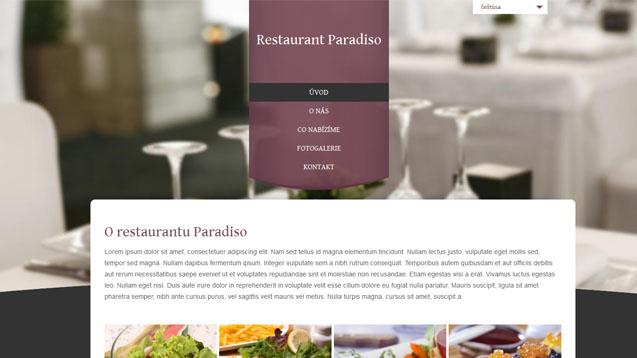 Restaurace tmavě červená šablona číslo 302