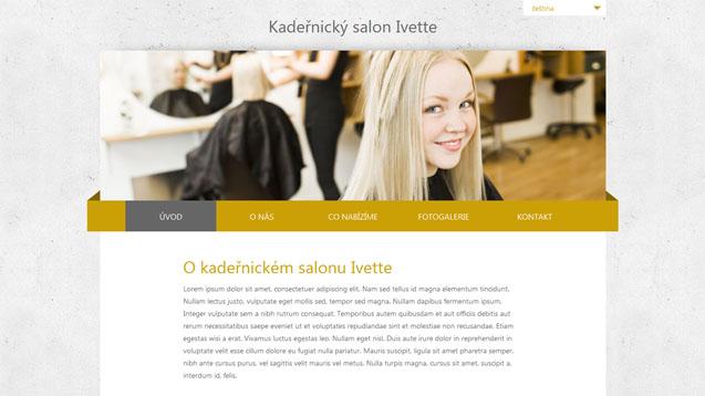 Kadeřnický salon Ivette žlutá šablona číslo 226