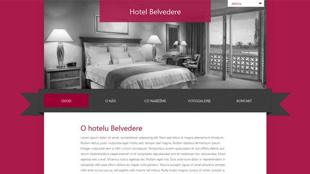 Hotel Belvedere tmavě červená šablona číslo 260