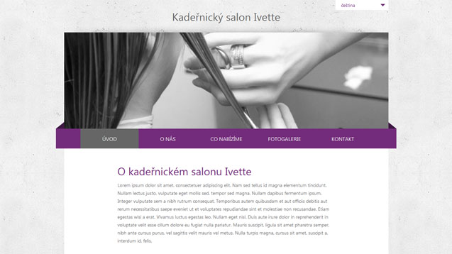Kadeřnický salon Ivette fialová šablona číslo 257