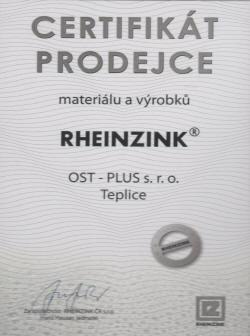 certifikát Rheinzink