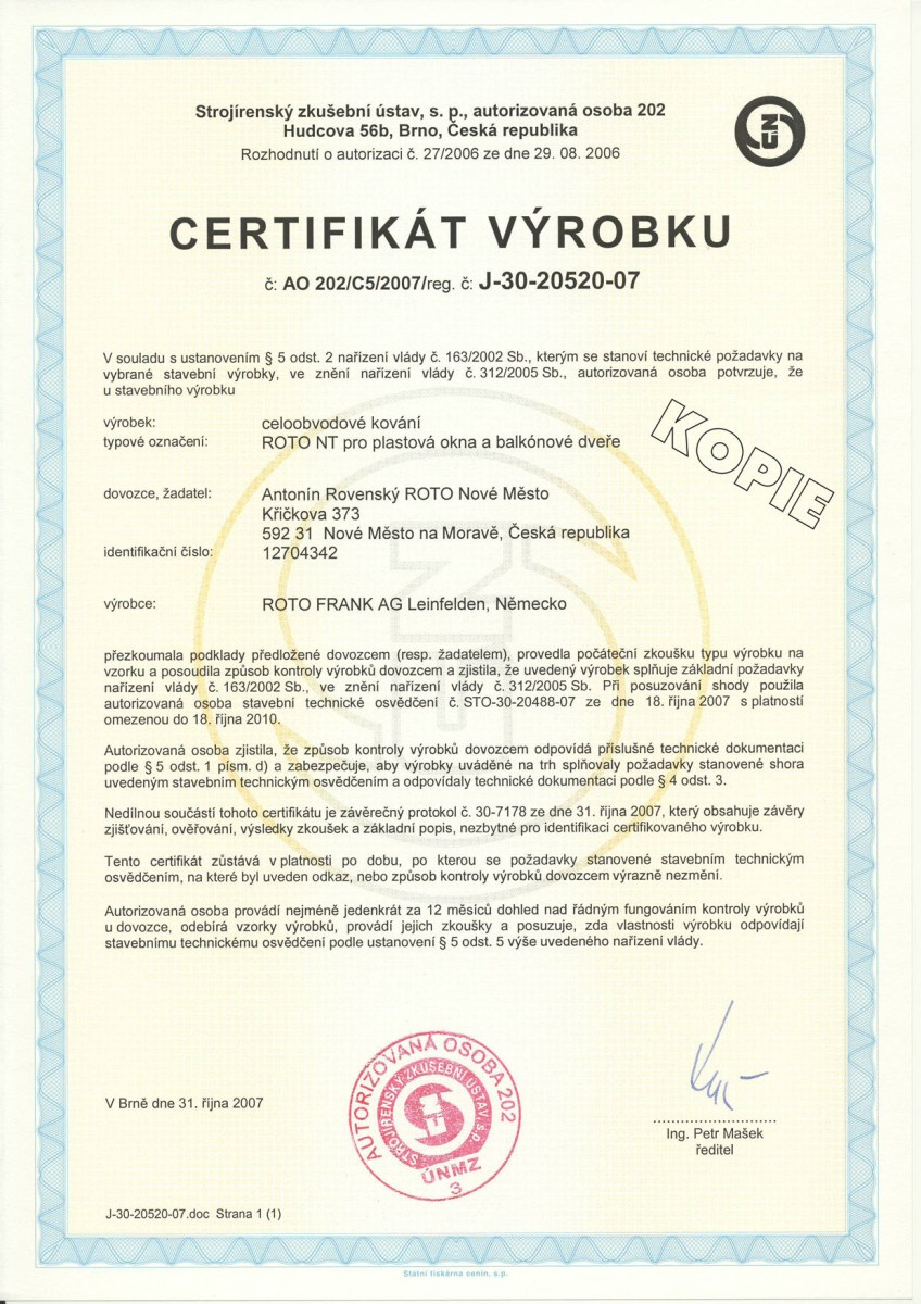 certifikát ROTO