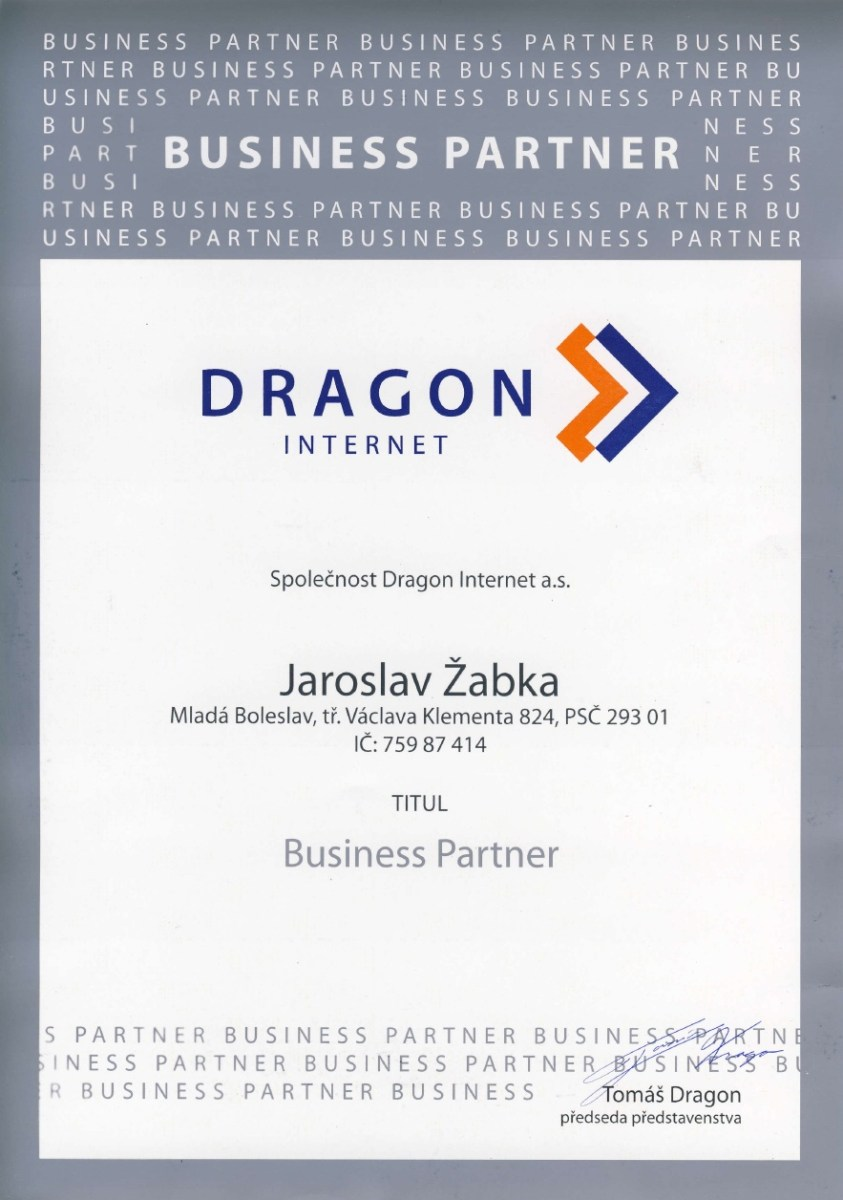 certifikát Dragon Internet a.s.