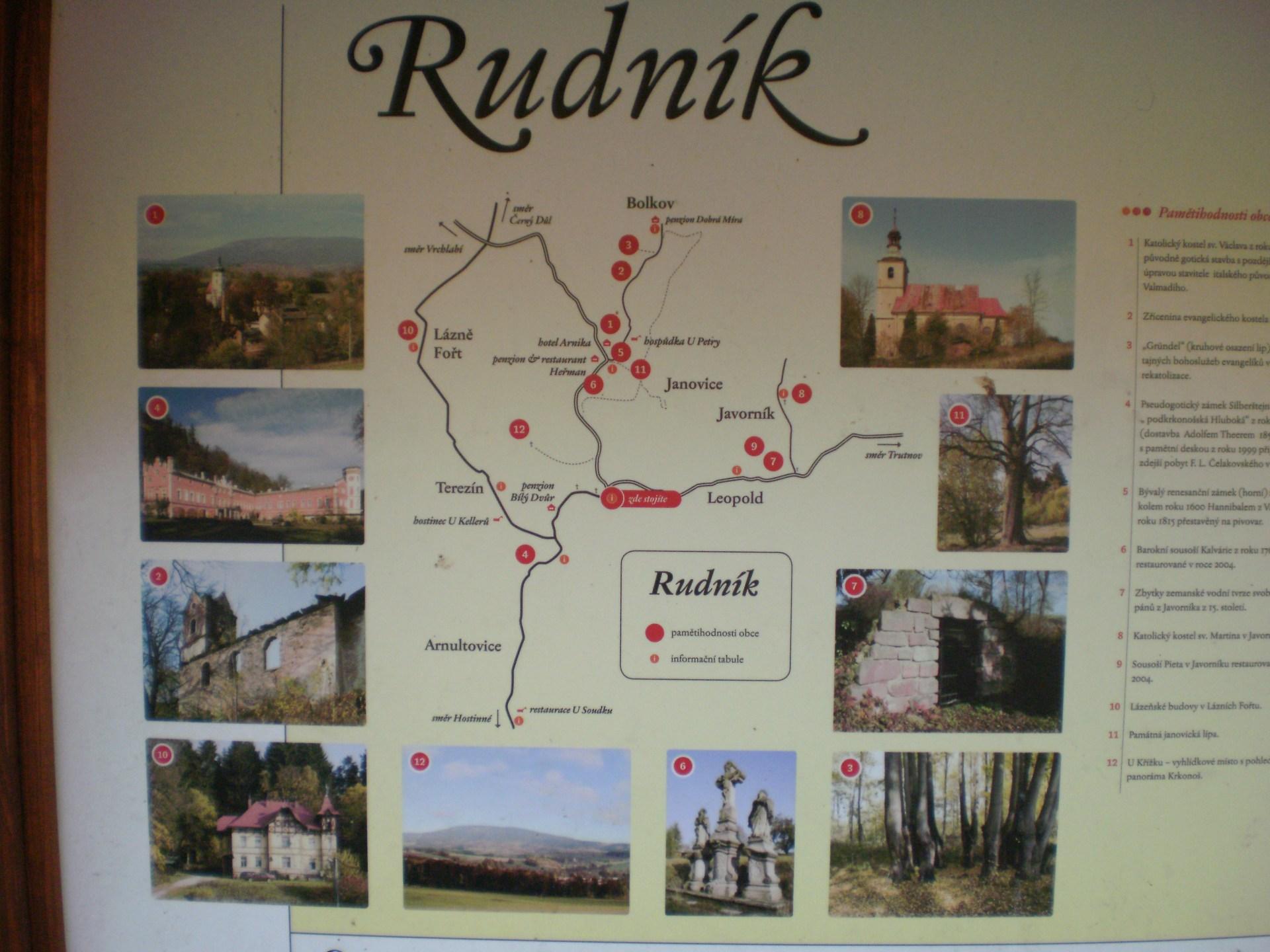 mapa s fotografiemi obce Rudník