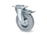 Transportní kladky s blokací,ocelový zinkovaný disk s šedou gumou