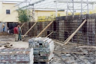 D-beton: systémové bednění - opěrná zeď