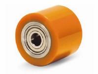 Pro paletizační techniku, ocelové těleso kola s kuličkovým ložiskem a polyuretanovým běhounem