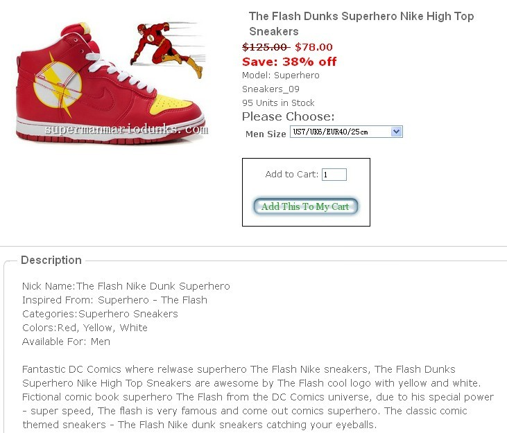 The Flash Nike DUNKS,The Flash Nike Superhero Shoes,The
