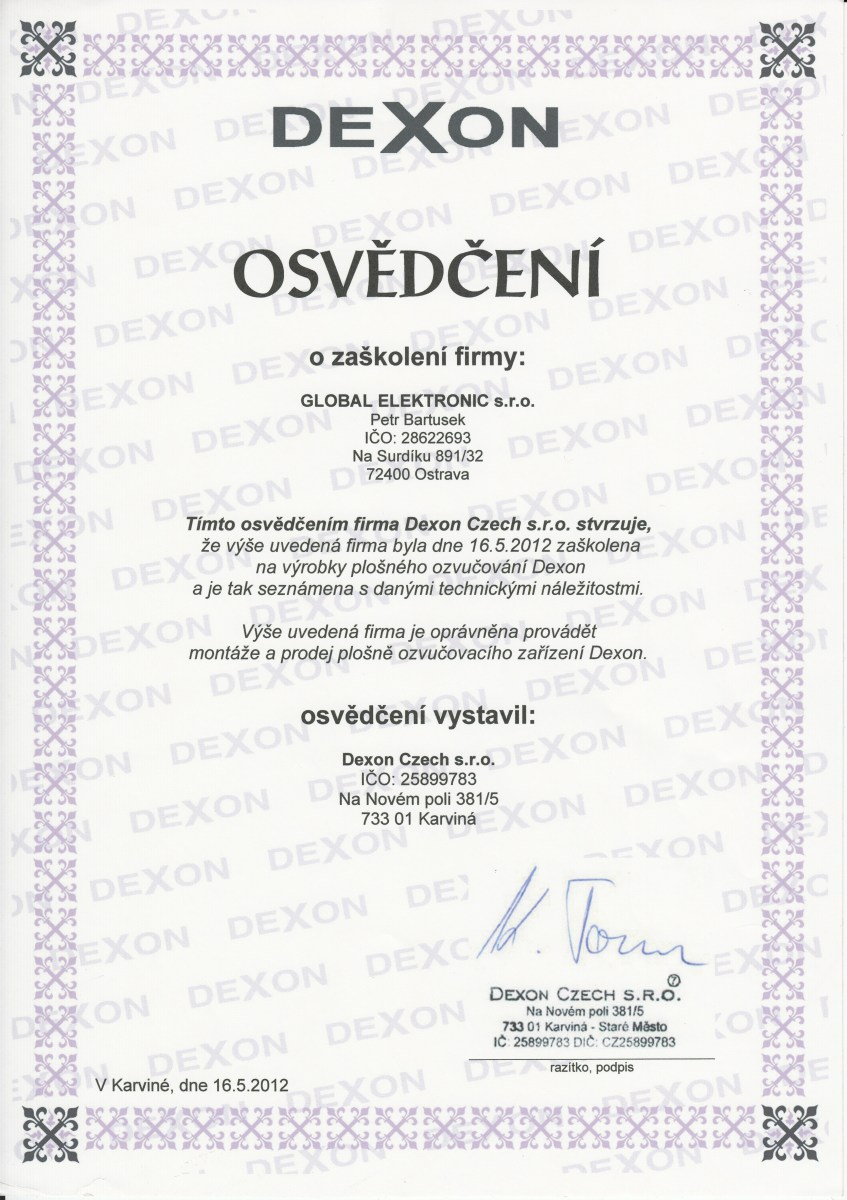 Certifikace Global Electronic