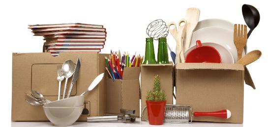Předměty ve stěhovacích krabicích