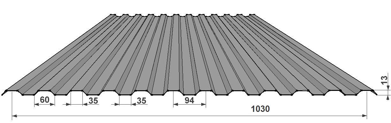 Hliníkový tvarovaný plech 13/94S - se špičatým prolisem ve spodní vlně