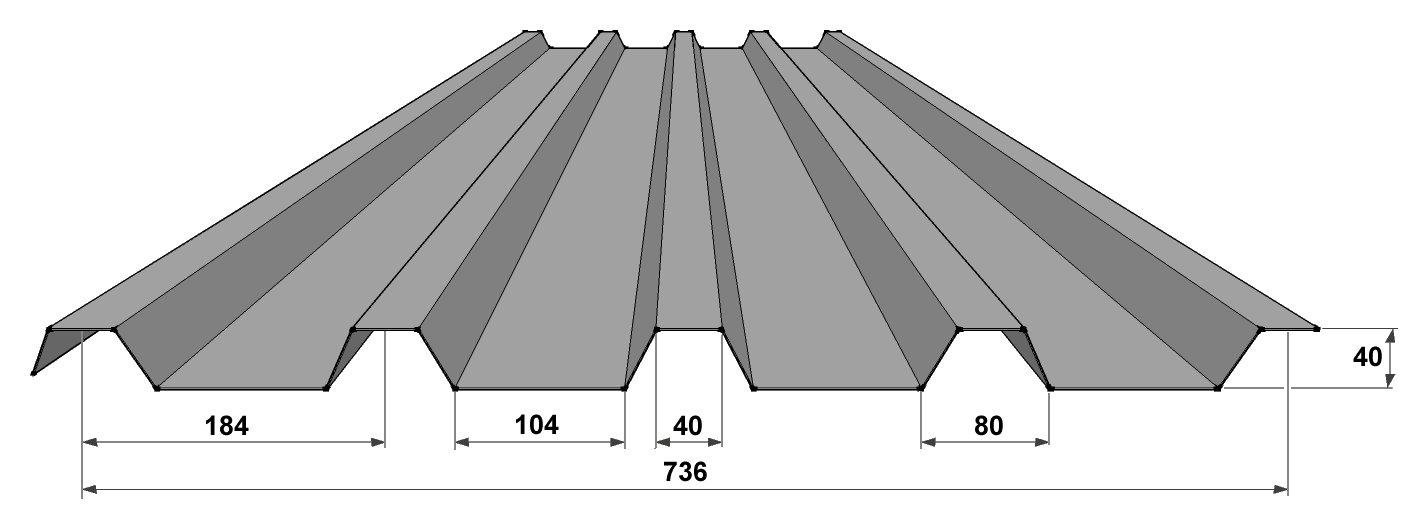Hliníkový tvarovaný plech KPTR 40/184