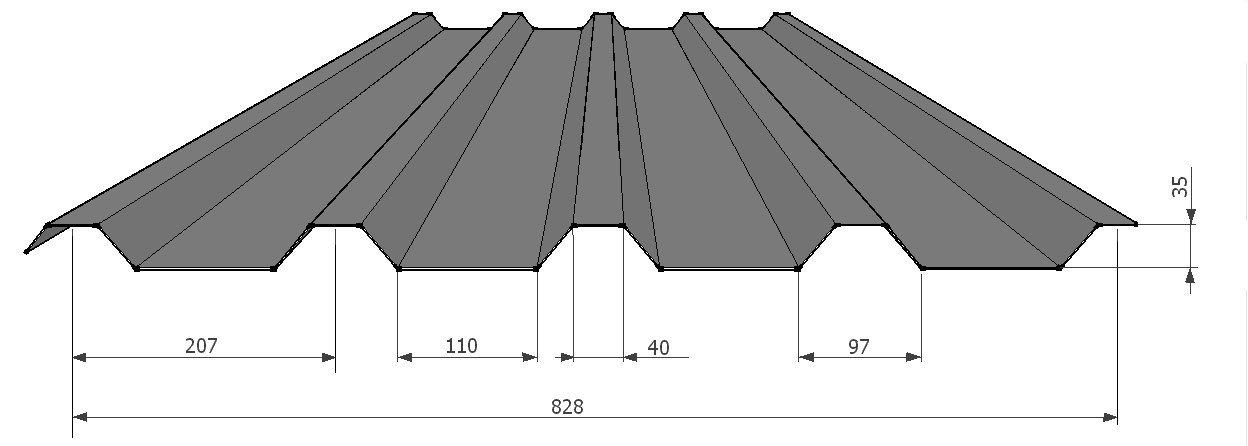 Hliníkový tvarovaný plech KPTR 35/207