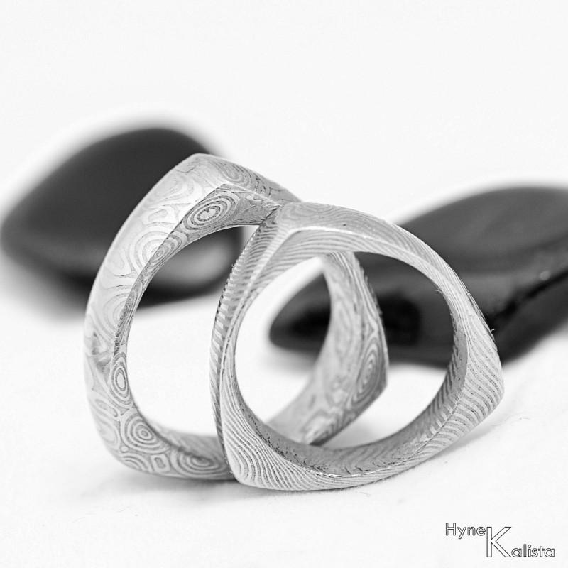 Ocelove Snubni Prsteny Damasteel
