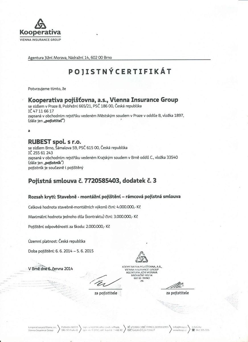 RUBEST spol. s r.o. - pojistný certifikát
